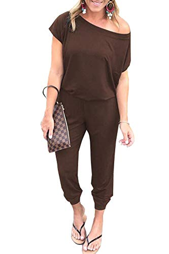 PRETTYGARDEN Off Shoulder Sleeve Hollow Out Sexy Women Bodycon Long Jumpsuit Rompers (Medium, 600089 Brown)