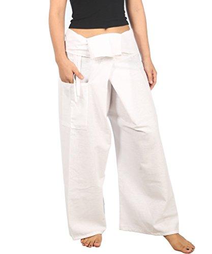 Lannaclothesdesign Women's Lounge Plain Cotton Pants Thai Fisherman Yoga Trousers (M, White) ()