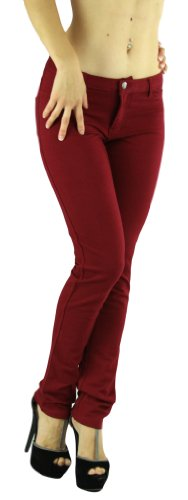 ToBeInStyle Womens Elastic Skinny Pull On Jeggings w/ Zipper & Button,Small,Burgundy