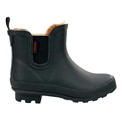 Chooka Women's Waterproof Plush Chelsea Bootie Chelsea Boot,Black, 8 medium (Rain Boot Chelsea)
