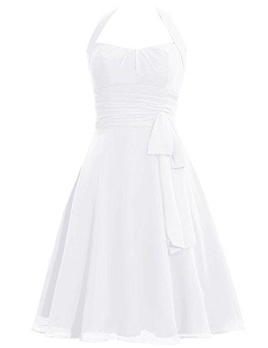 Dress Cdress Evening Bridesmaid Prom White Bowknot Short Halter Chiffon Gowns Formal Dresses 080qwFx