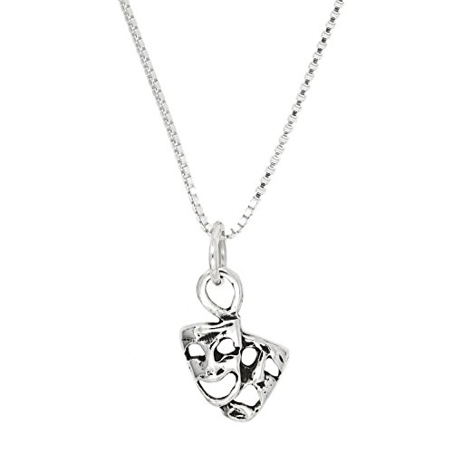 Lgu Sterling Silver Oxidized One Sided Tiny Comedy Tragedy Mask Necklace (16 Inches)