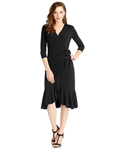LookbookStore Womens Ruffled Surplice Asymmetrical