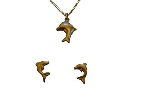 Collar delfín–chapado en oro