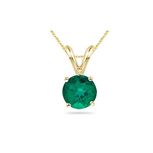 0.20-0.29 Cts of 4 mm AAA Round Russian Lab Created Emerald Solitaire Pendant in 14K White ()