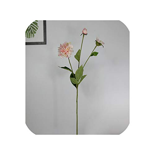 The Hot Rock 3 Heads Artificial Paeonia Flower Branch Simulation Silk Flowers Hydrangea Fake Flower Bouquet Home Party Decor Floral,Pink