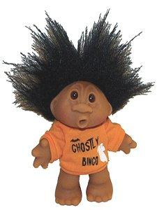Ghostly Halloween Bingo Troll Doll Awesome Black Hair -