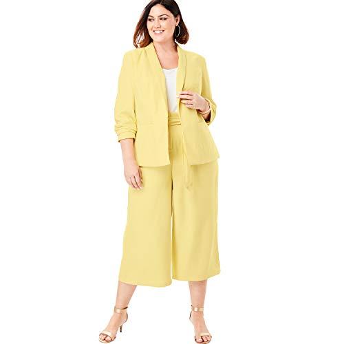 - Roamans Women's Plus Size Two-Piece Blazer & Culotte Set - Pale Yellow, 16 W