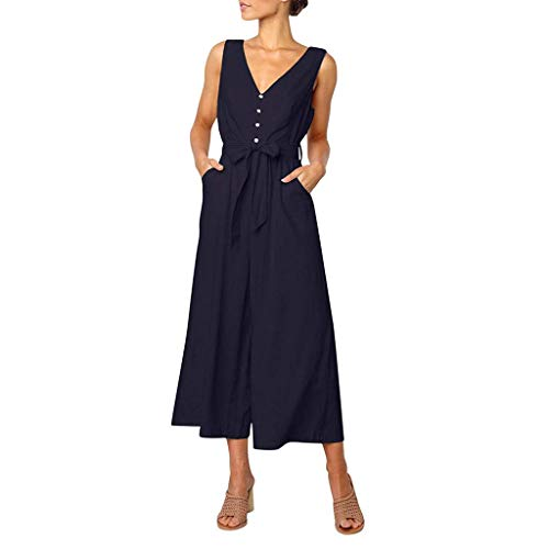 (stupy Fashion Women Jumpsuit, Summer Jumpsuit,Women's Sleeveless V-Neck Button Casual Work Playsuit with Long Trousers Outfit Navy L)