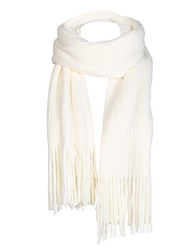 Thick Cable Knit - Women Men Winter Thick Cable Knit Wrap Chunky Warm Scarf All Colors Fringe White