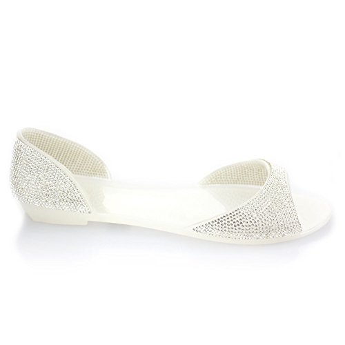 Aarz Women Ladies Evening Casual Flat Diamante Soft Jelly Slipper Shoes Size ( Black,Champagne,White ) White