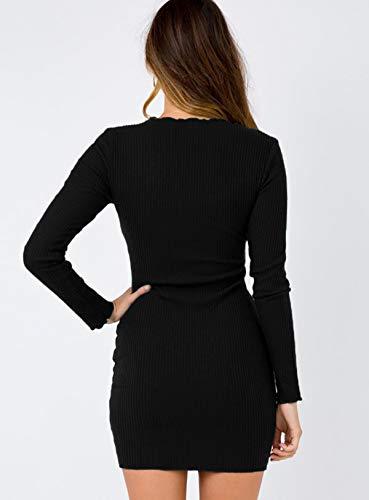 Vestido de Paquete Mini Cadera Fiesta Negro Partido Vestidos Botón Mujeres Larga Sexy con Primavera Moda Cuello de Manga Apretado de Club Jerséis Otoño Suéter Vestidos V qpfxFwE6