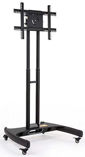 Displays2go Mobile Flat Panel TV Stands, Wheels, Height Adjustable, Aluminum - Black Finish (CFSTN2BECO)