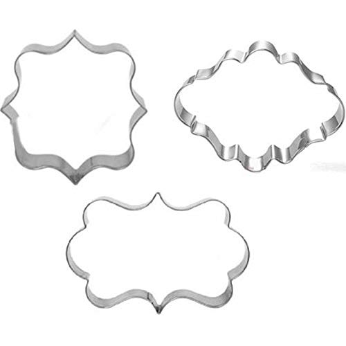 (Biscuit Cutter set - 3pcs/set kitchen cake mould blessing frame wedding stainless steel cookie cutters 3d biscuit sugarcraft baking pastry s e397)