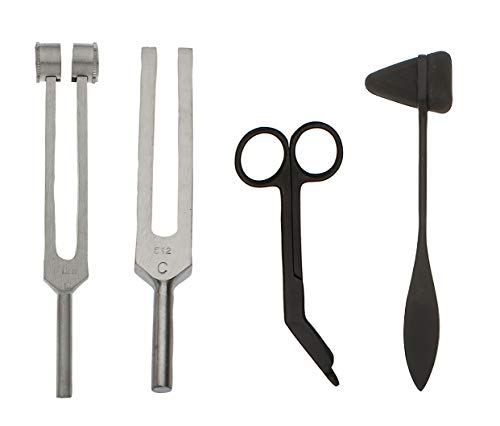 Tactical Black - Set of 4 pcs Reflex Taylor Hammer Mallet Tuning Fork c 128 512 Hz Bandage Scissors 5.5""