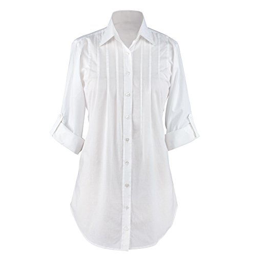 Women's Button Down, Collared, Roll Sleeve Tunic Top, White, Xx-Large, Plus-Size