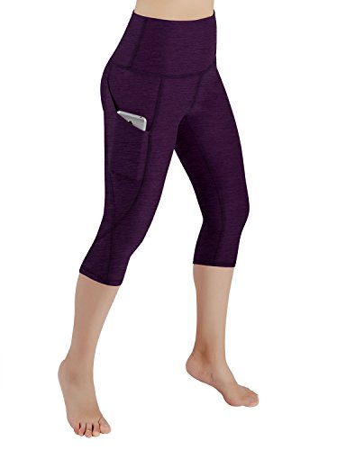 ODODOS High Waist Out Pocket Yoga Capris Pants Tummy Control Workout Running 4 Way Stretch Yoga Capris Leggings,DeepPurple,Small ()