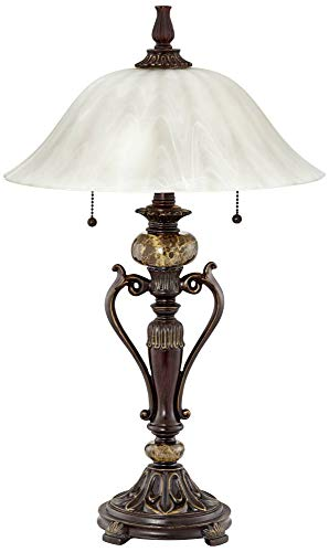 - Amor Collection Glass Shade Table Lamp in Bronze