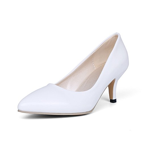 BalaMasa Womens Pointed-Toe Pull-On Slip-Resistant Patent-Leather Pumps-Shoes White wntALta