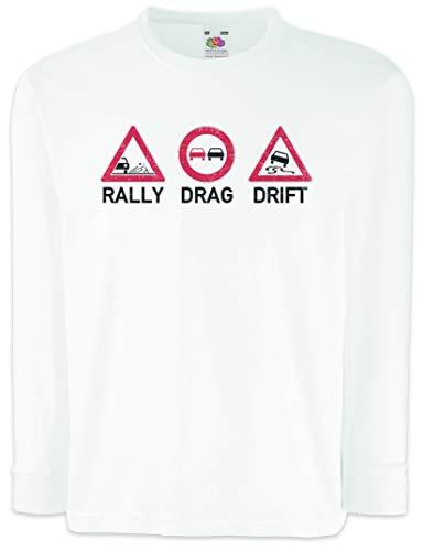 Urban Backwoods Rally Drag Drift Kids Boys Girls Long Sleeve T-Shirt White