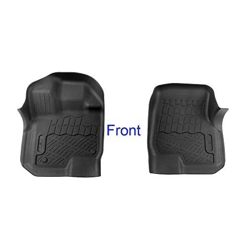 APS 2 pcs Textured Black Waterproof Front Floor Liner Compatible wiht 2015-2018 Ford F-150 SuperCrew Cab | Front & Rear Floor Mats