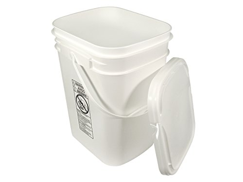 5.3 Gallon White Rectangular Bucket/Pail with Hinged Snap Lid ()