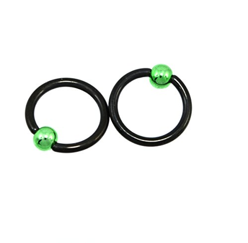 Set Of 2 Rings 16G 5/16 Inch Black PVD Plated Captive Bead Ring With Green Ball 529 - Lip Kix
