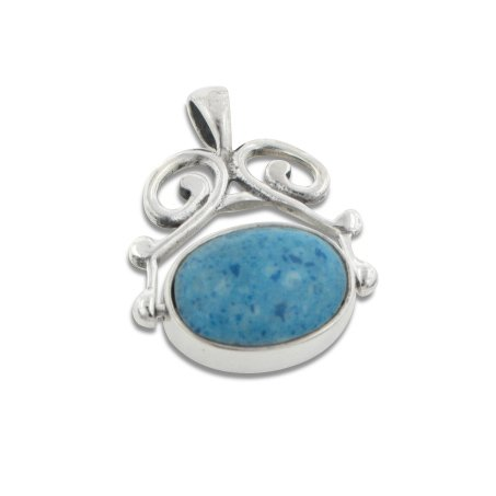 (Sterling Silver Simulated Denim Lapis and Onyx Reversible Pendant)