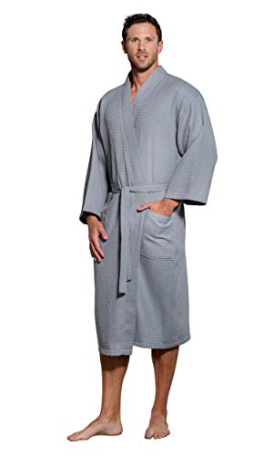 Turquaz Linen Lightweight Long Waffle Kimono Spa Robe for Men (One Size, Gray)