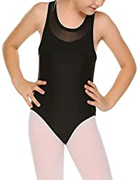 Arshiner Children's Tank Back Mesh Black Basics Leotard