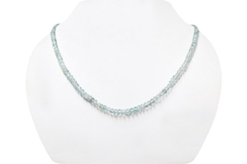 Natural Aquamarine Rondelle Faceted Beads Strand finished with Sterling Silver clasp 16