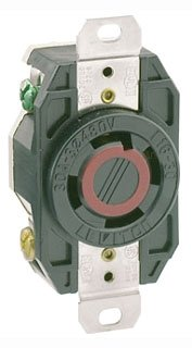(Leviton 2730 30 Amp, 480 Volt- 3PY, Flush Mounting Locking Receptacle, Industrial Grade, Grounding, V-0-MAX,)
