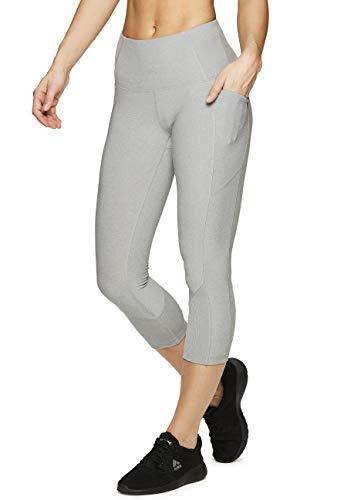 RBX Active Women's Ribbed Pocket Running Yoga Capri Leggings Ribbed Grey M