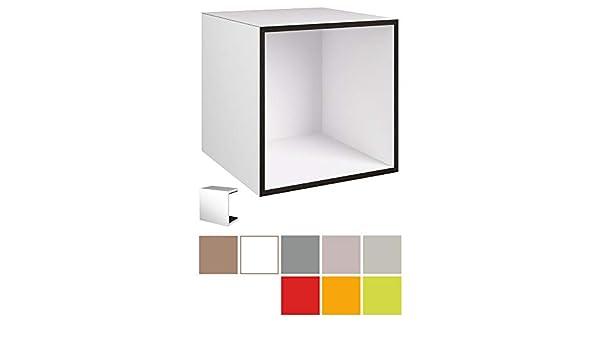stocubo - Kit de Prueba para Sistema Modular de estanterías para Libros, Discos, archivadores y DVD, Color Blanco MDF con Bordes Negros y patrón de Colores: Amazon.es: Hogar