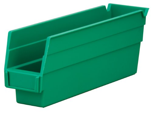 Akro-Mils 30110 12-Inch by 2.75-Inch by 4-Inch Plastic Nesting Shelf Bin Box, Green, Case of 24 ()