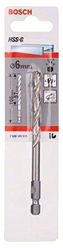 Bosch 2608595515 Foret /à m/étaux rectifi/é HSS-G DIN 338 /à queue six pans 1//4 /Ø 6 mm