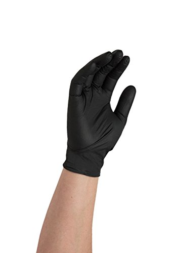 AMMEX Professional Series Black Nitrile Disposable Gloves - on hand