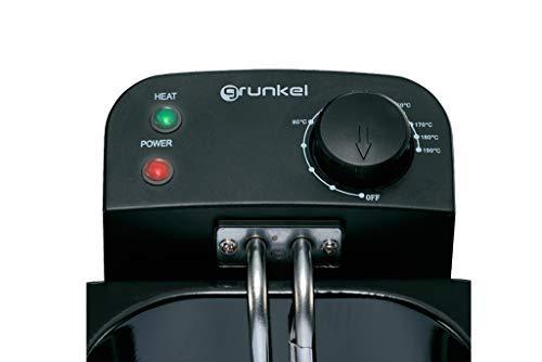 Grunkel - Freidora eléctrica 3, 5 litros de capacidad y 2200 W de potencia en acero inoxidable. Temperatura ajustable. Protección contra sobrecalentamiento.