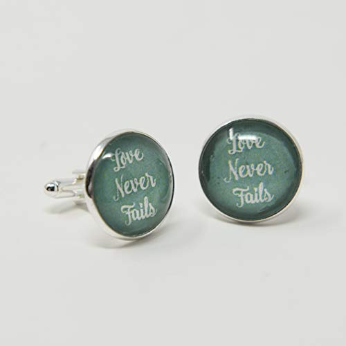 LOVE NEVER FAILS - Cuff Links in sea green, menswear, for the international convention 2019 of Jehovah's Witnesses, Gifts for Men, Gifts for Husband, Boyfriend or Fiancee, Dapper, Swag
