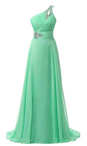 ne Shoulder Chiffon Formal Evening Dress Mint 4 ()
