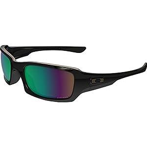 Oakley Men's Fives Squared Polarized Iridium Rectangular Sunglasses, Polished Black/Prizm Shallow Water Polarized, 54.0 mm