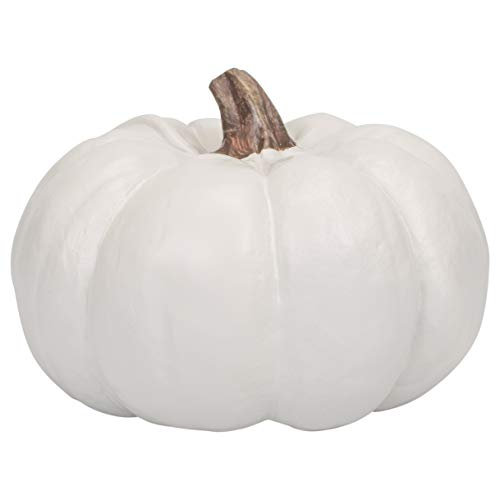 Elanze Designs Ivory 6 inch Decorative Resin Harvest Pumpkins (White), Quantity 1 by Elanze Designs