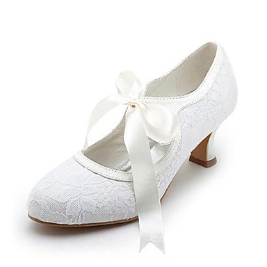 Spool Pumps Heel Ribbon Bridal Toe Middle Spool Shoes Closed Wedding Women'S Shoes Satin With Tie 42 Heel RTRY Upper xFwXAPS