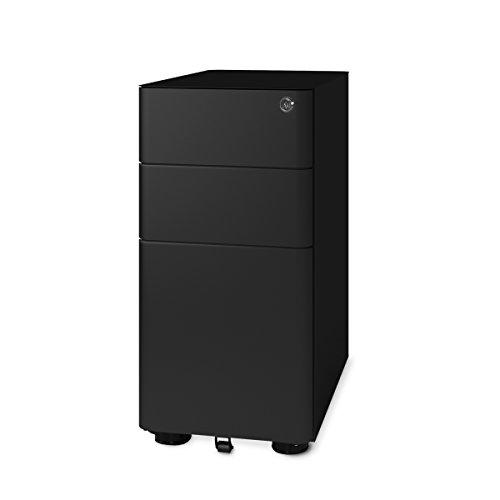 DEVAISE 3-Drawer Slim Mobile File Cabinet with Lock,Legal/Letter Size (Black)