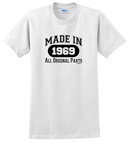 50th Birthday Candles Cards 50th Birthday Gift Made 1969 All Original Parts T-Shirt Large White]()
