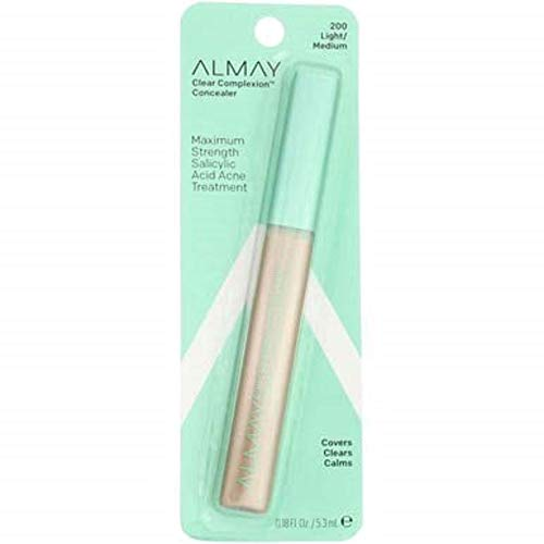 Almay Clear Complexion Oil-Free Concealer, Light/Medium, Hypoallergenic, Dermatologist-tested, Non-Comedogenic (Won't Clog Pores) 0.18 oz Almay Clear Complexion Powder