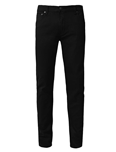 NE PEOPLE Mens Light Solid Basic Casual Slim Fit Twill Skinny Color Jeans Pants-BLACK-32X32 (Black Twill Jeans)