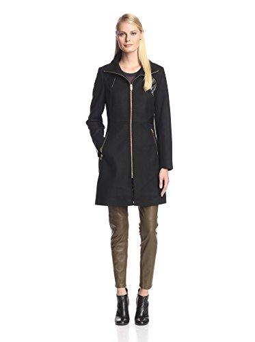 Via Spiga Women's Coat with Faux Leather Trim, Black (Via Spiga Blend Coat)