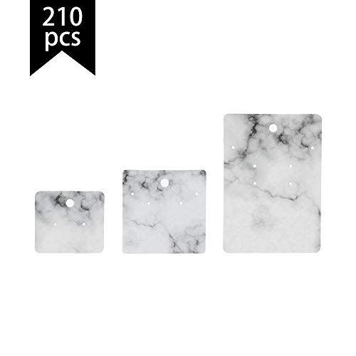 Calculs Earring Cards - 210-Pack Jewelry Card Holder with Secure Backs, Earring Display Cards for Ear Studs, Earrings, White Marble, 1.8 x 2 inches, 2.8 x 4 inches, 2.4 x 2.4 inches