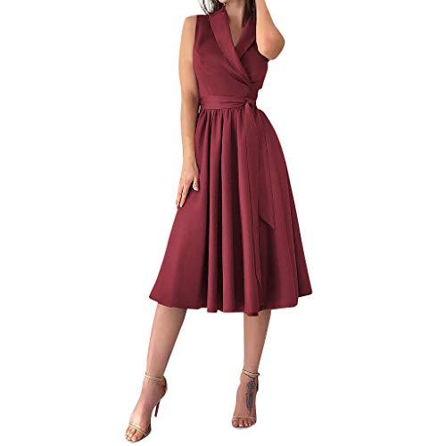 (TIFENNY Womens Holiday Sexy Sleeveless Bowknot A-line Dress Ladies Summer Beach V Neck Party Dress Belt Wine)